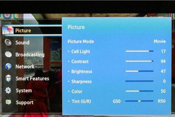 Vào menu tìm hiểu các thiết lập hình ảnh