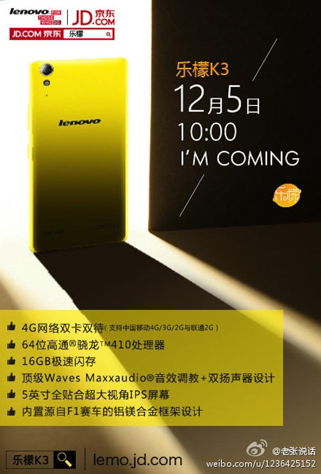 Thị trường smartphone giá rẻ tháng 12 sắp nhận thêm nhiệt từ Lenovo K3
