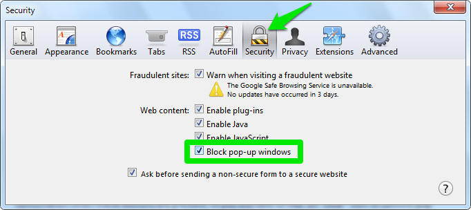 Block pop-up windows Safari