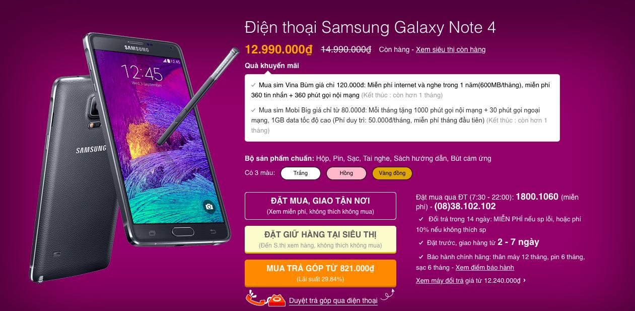Galaxy Note 4 đại hạ giá