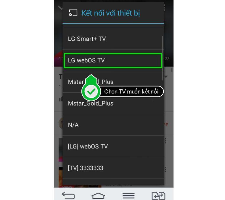 Chọn tivi mà bạn muốn kết nối