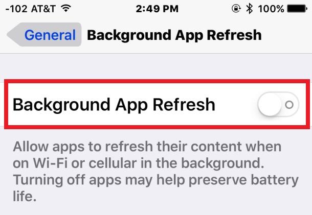 Vô hiệu hóa Background App Refresh