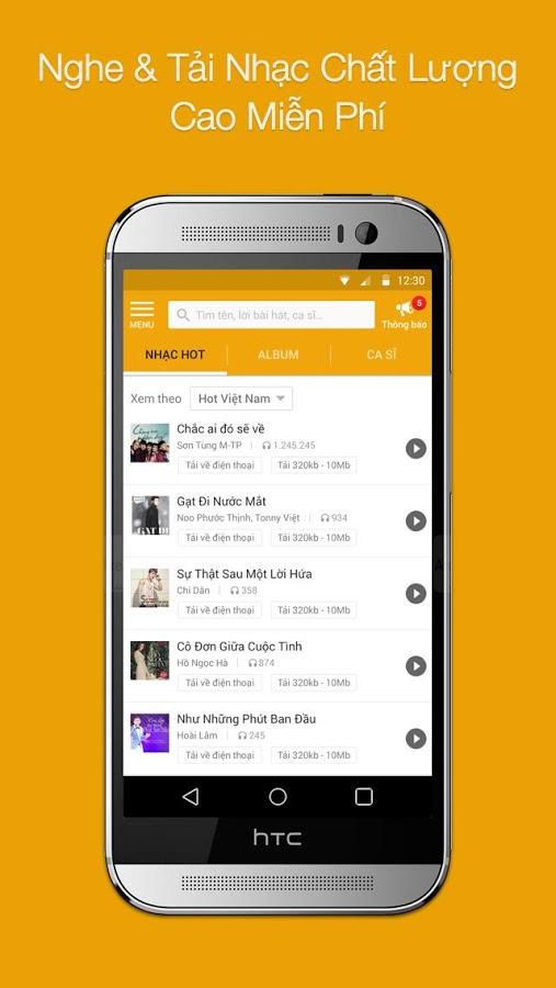 Tải và nghe nhạc trên app TGDD 1