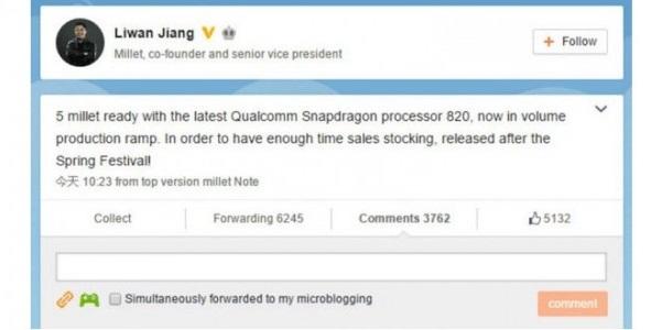 Nhà đồng sáng lập Xiaomi đã xác nhận