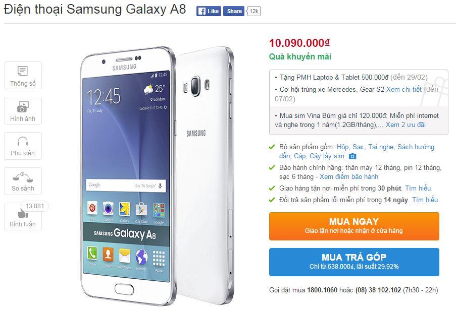 Galaxy A8 được giảm giá dịp Tết
