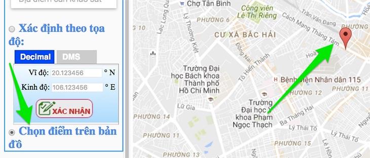 Nhập địa chỉ trên bản đồ