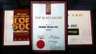 Thế giới di động lọt TOP 3 nhà bán lẻ hàng đầu VN 2016, số 1 lĩnh vực sở trường!