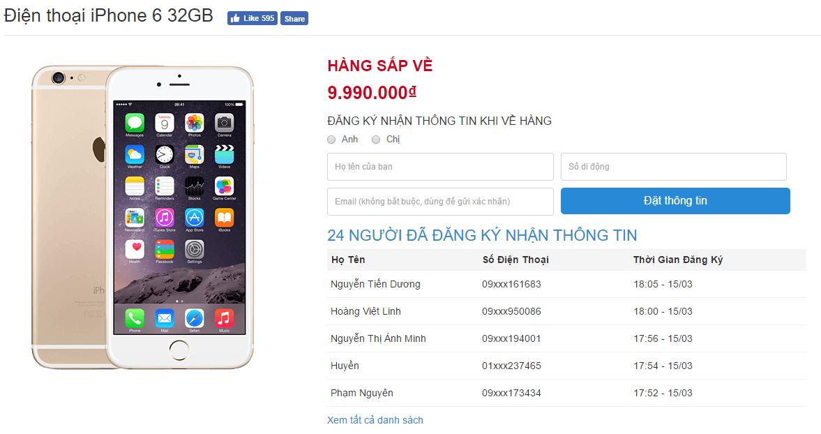 iPhone 6 bản 32 GB lên kệ với giá cực hấp dẫn
