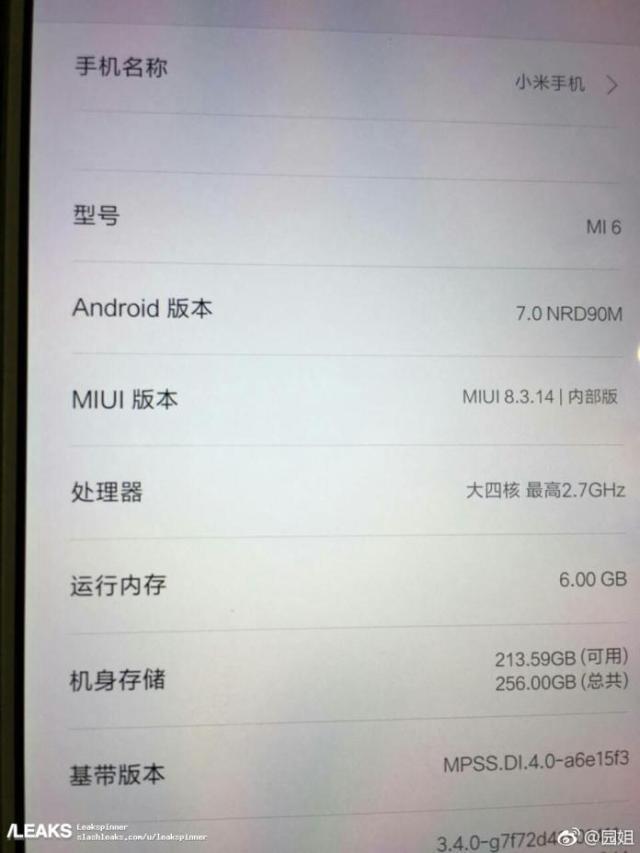 Hé lộ nhiều chi tiết cấu hình của Xiaomi Mi 6