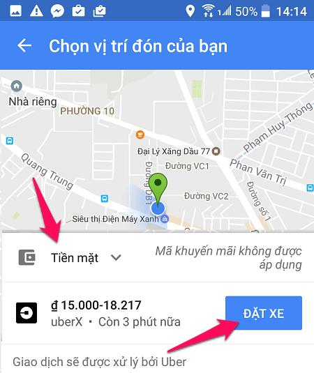 Google Maps hỗ trợ Uber, Grab