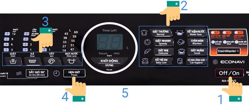 Hẹn giờ máy giặt Panasonic 9kg NA-F90V5LMX