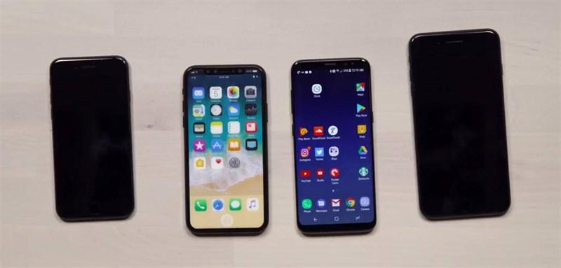 iPhone 8 xuất hiện đời thực bên cạnh Galaxy S8, iPhone 7