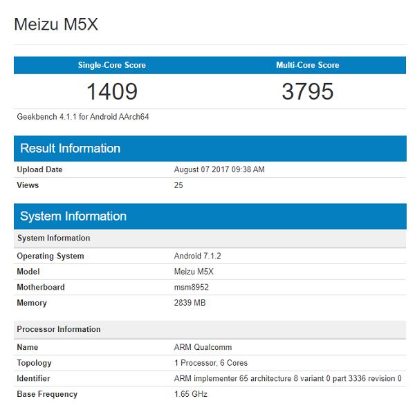 Meizu M5X tiếp tục rò rỉ: Snapdragon, 3GB RAM và chạy Android 7.1.2 - ảnh 2