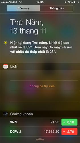 Giao diện thanh thông báo iPhone 6