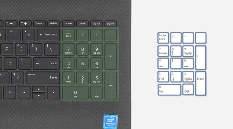 HP 15 bs571TU i3 6006U - Bàn phím số đầy đủ