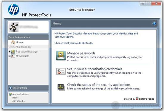 Bộ phần mềm HP ProtectTools với nhiều ứng dụng tiện ích trên HP Folio 13
