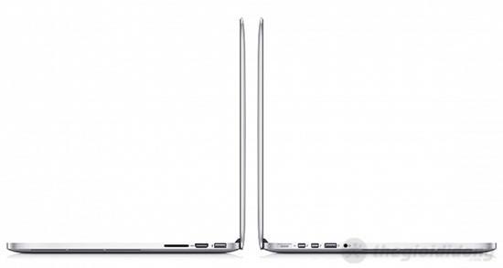 MacBook Pro MC975 với cổng kết nối ở 2 bên thân máy gồm USB, HDMI, Thunderbolt, MagSafe 2, jack tai nghe 3.5 mm và khe cắm thẻ nhớ SD