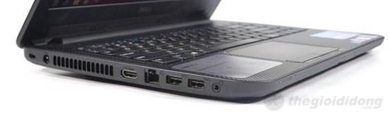 Cạnh trái Dell Inspiron 14 N3421 là khóa Kensington, jack nguồn, HDMI, LAN, 2xUSB 3.0, jack combo 3.5mm tai nghe/míc