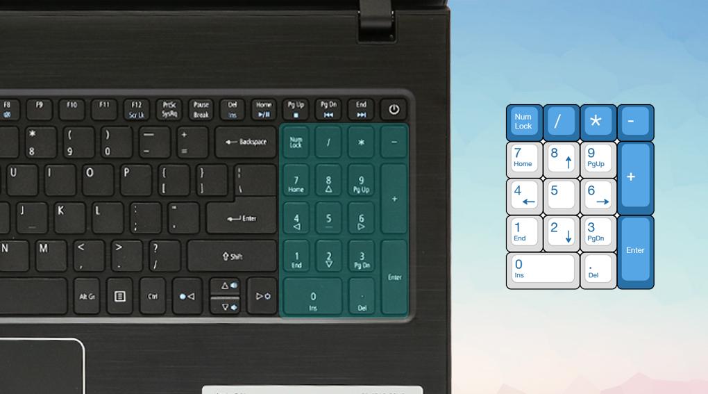 Trang bị cụm bàn phím number pad đầy đủ