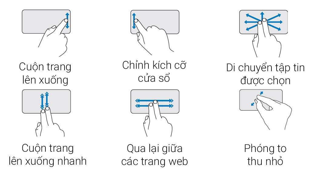 Touchpad rộng và đa cách điều khiển thông minh