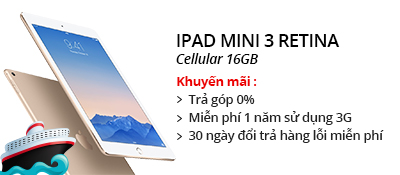 Máy tính bảng iPad Mini 3 Retina Cellular 16GB