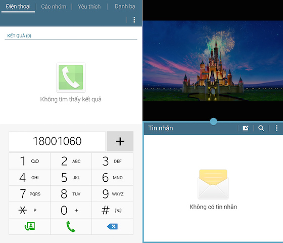 Máy có thể thực hiện được các cuộc gọi hay nhắn tin, chia đôi màn hình tiện ích