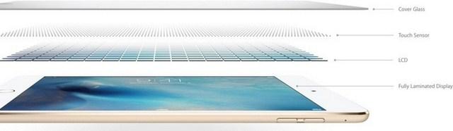 Công nghệ một lớp màn hình được Apple sử dụng trên iPad mini 4, nhờ đó thân máy mỏng hơn, đem đến chất lượng hình ảnh sắc nét hơn, độ sáng cao và chống lóa tốt