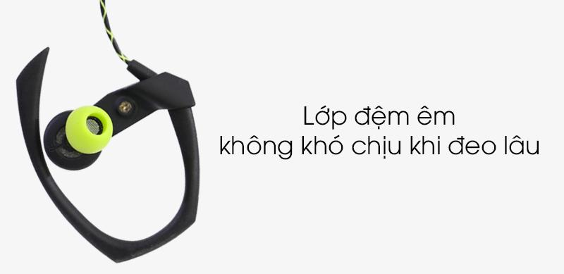 Tai nghe EP Kanen S70 Đen xanh lá - Lớp đệm êm giúp không bị khó chịu khi đeo tai nghe lâu