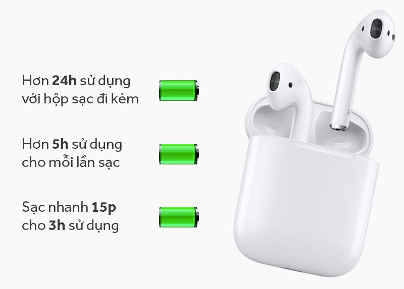 Tai nghe Bluetooth AirPods Apple MMEF2 - Thời lượng sử dụng tai nghe rất tốt