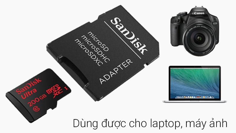 Thẻ nhớ microSD 200Gb - Có thể gắn vào adapter để sử dụng cho nhiều thiết bị khác
