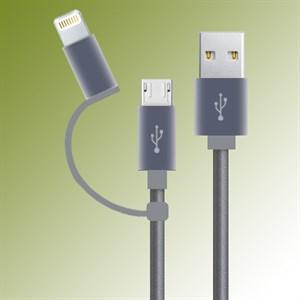 Dây cáp 2 in 1 Lightning và Micro USB 1 m M-Best DS089-TB