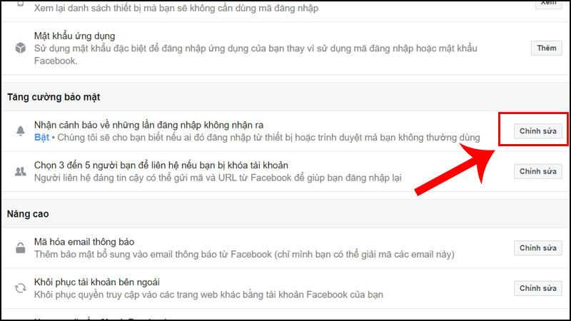 Tạo cảnh báo đăng nhập Facebook