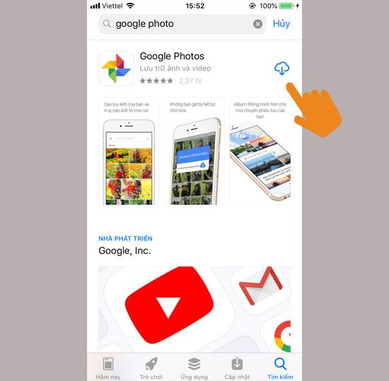 Tìm và tải về ứng dụng Google Photo