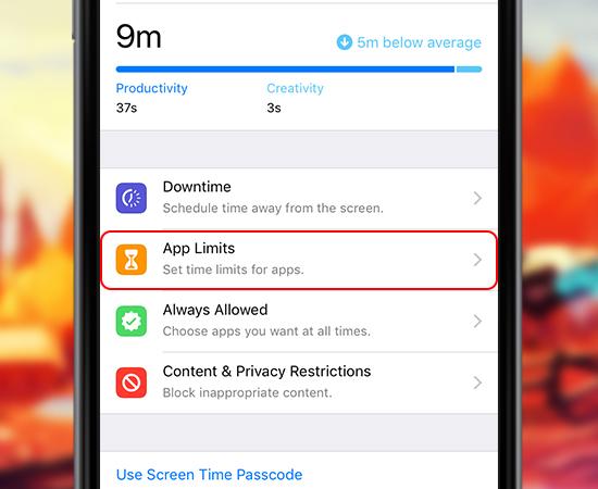 Ngay tại phần Screen Time các bạn tìm và chọn App Limits (Giới hạn ứng dụng)