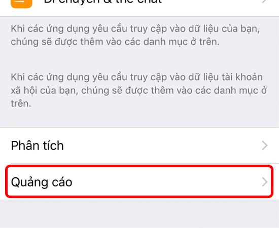 Bước 2: Tại giao diện của Quyền riêng tư, bạn chọn tiếp vào mục Quảng cáo.