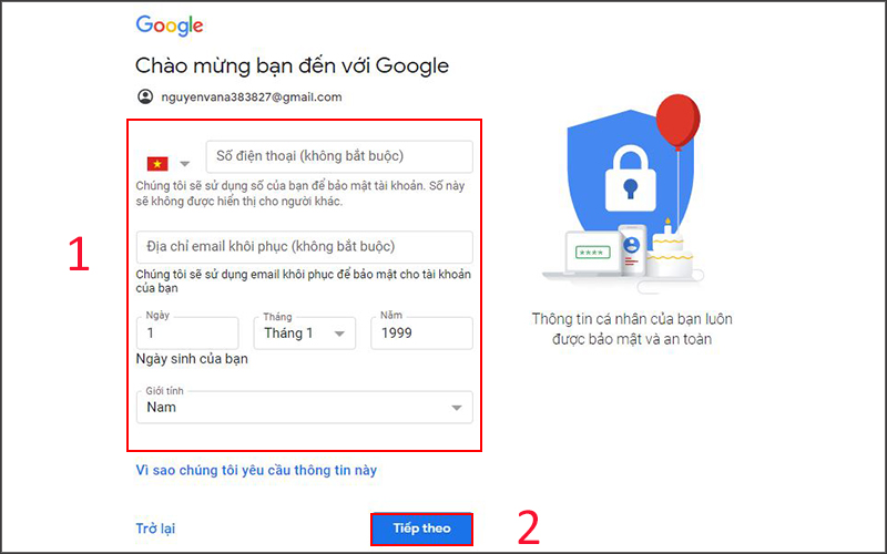 Tạo tài khoản Gmail trên máy tính (2)