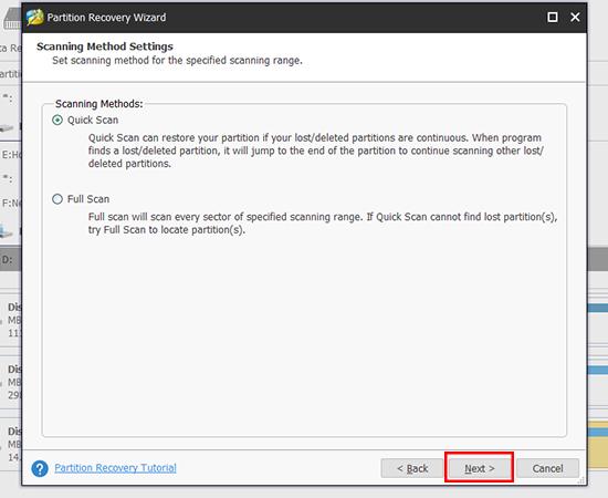 Bước 7: Các bạn chọn Quick Scan để kiểm tra nhanh USB, nếu không có hiệu quả thì chọn Full Scan và chọn Next.