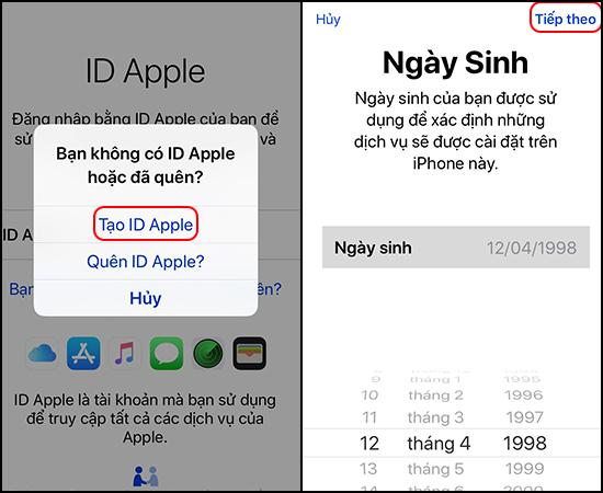 Chọn Tạo ID Apple -> Chọn Ngày sinh