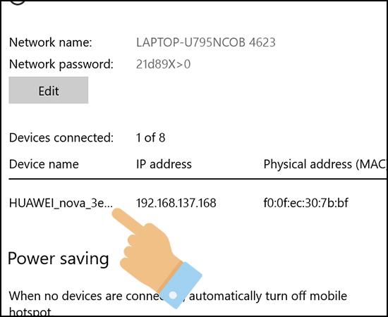 Khi một thiết bị kết nối vào bạn sẽ biết được thông tin thiết bị đó